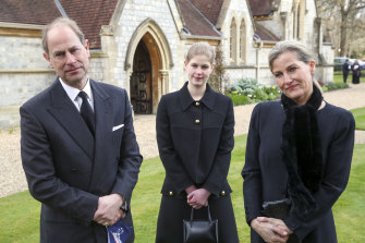 Prince Edward, Earl of Wessex, and Sophie, Countess of Wessex, with their daughter Lady Louise Windsor, days before Prince Philip's funeral.