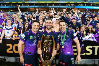 Cooper Cronk, Cameron Smith and Billy Slater in 2017.