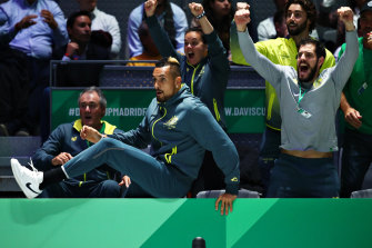 Nick Kyrgios and the Australian team go wild after Alex De Minaur's win.