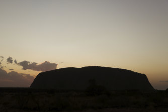 Uluru at sunrise on Friday.