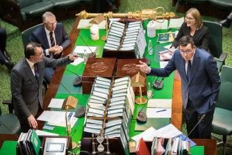 O'Brien takes on Premier Daniel Andrews in Parliament in June.