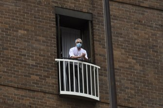 Professor Dominic Dwyer, seen here in hotel quarantine on his return to Sydney from Wuhan.