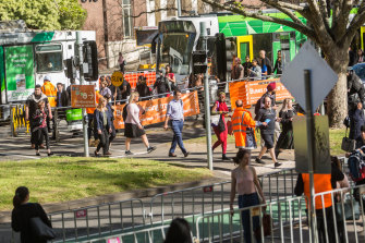 Buses have been replacing trams on one of Melbourne's busiest corridors.