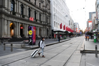 Melbourne's Bourke Street Mall almost empty during lockdown.