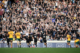 The All Blacks faithful cheer a Sam Cane try.