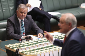 Scott Morrison snapped back at Anthony Albanese's jibes.