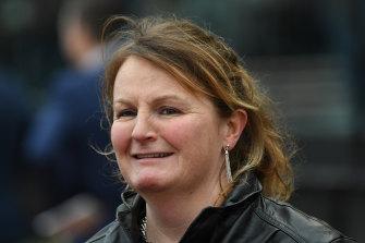Trainer Lisa Enright at Moonee Valley Racecourse in 2018.