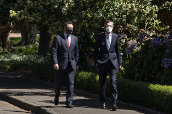 NSW Deputy Liberal leader Stuart Ayres with new Premier Dominic Perrottet arriving at Government House.