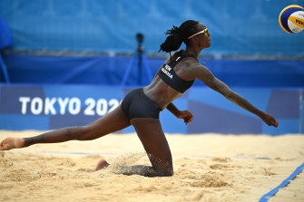 Gaudencia Makokha of Kenya dives for the ball in the Olympic beach volleyball competition. Broadcasters are employing improved protocols for coverage of women at the Games.