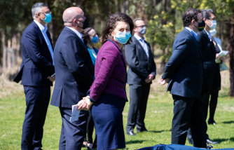 NSW Premier Gladys Berejiklian with other ministers and Coalition MPs in western Sydney on Monday.