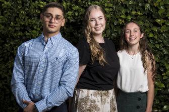 Trinity Grammar student Christyon Hayek and Redlands students Isabel Binnekamp and Lindsay McNeil.