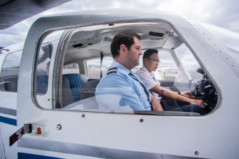 Moorabbin Aviation Services flight instructor Stefan Alman with student Vincent Christian.