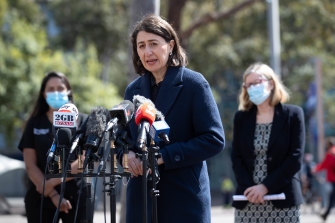 She's back: Premier Gladys Berejiklian at Wednesday's COVID-19 press conference, her second appearance this week, even though she had indicated they would stop as of last Friday.