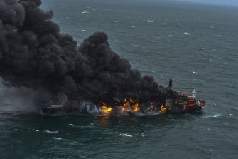 The container vessel MV X-Press Pearl engulfed in flames off Colombo port, Sri Lanka on Tuesday.