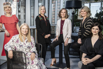 In May, when Amazon Prime announced a new slate of Australian commissions: from left: Holly Ringland, Bruna Papandrea, Sarah Lambert, Kacie Anning, Kate McLennan and Kate McCartney.
