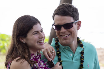 Alexandra Daddario and Jake Lacy as a newly married couple in The White Lotus.