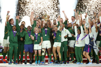 The Springboks celebrate winning the 2019 Rugby World Cup.