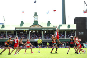 Sydney's Tom Hickey during AFL match between the Sydney Swans and Adelaide Crows at the SCG.