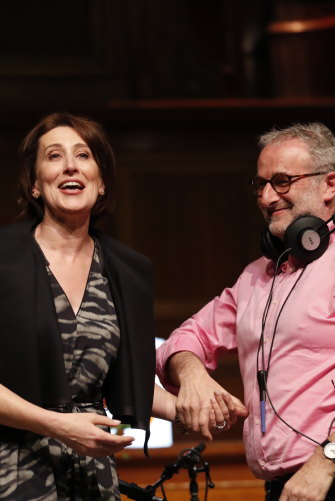 ABC radio host John Faine at his last show at the Melbourne Town Hall. Virginia Trioli has since taken over the reins.