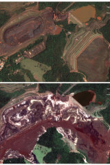 Satellite images show the area of Brumadinho, Brazil, before and after the dam collapse.