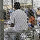 Immigrant children held in a detention centre.
