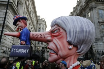 An effigy of Theresa May during an anti-Brexit march in London, March 23.