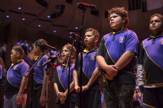 Students from Hope Vale, part of the   Cape York Aboriginal Australian Academy Bank,  rehearse ahead of Monday night's Cantabile Music Festival at the Opera House. From left to right,  Mekenzie Bowen, Jyren Kyle, Clifford Armbrum, Jahariz Woibo.