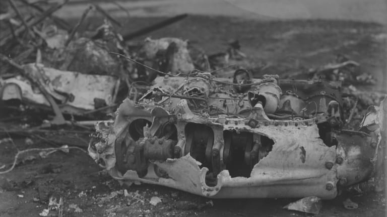 The wreckage of a biplane which crashed at the opening of Old Parliament House in 1927.