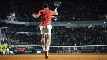 Novak Djokovic in action against Diego Schwartzman.