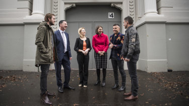 Boy and Bear band member Killian Gavin, Playbill Group managing director Michael Nebenzahl, Local Government Minister Gabrielle Upton, Premier Gladys Berejiklian, musician Anthony Callea and Boy and Bear Band member Dave Symes at the Hordern Pavilion on Friday.