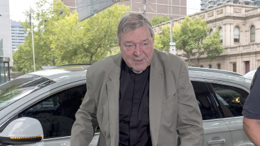 Cardinal George Pell outside Melbourne Magistrates Court this week.
