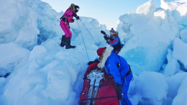 Jade being filmed for her National Geographic Channel documentary as she overcomes a compression zone.