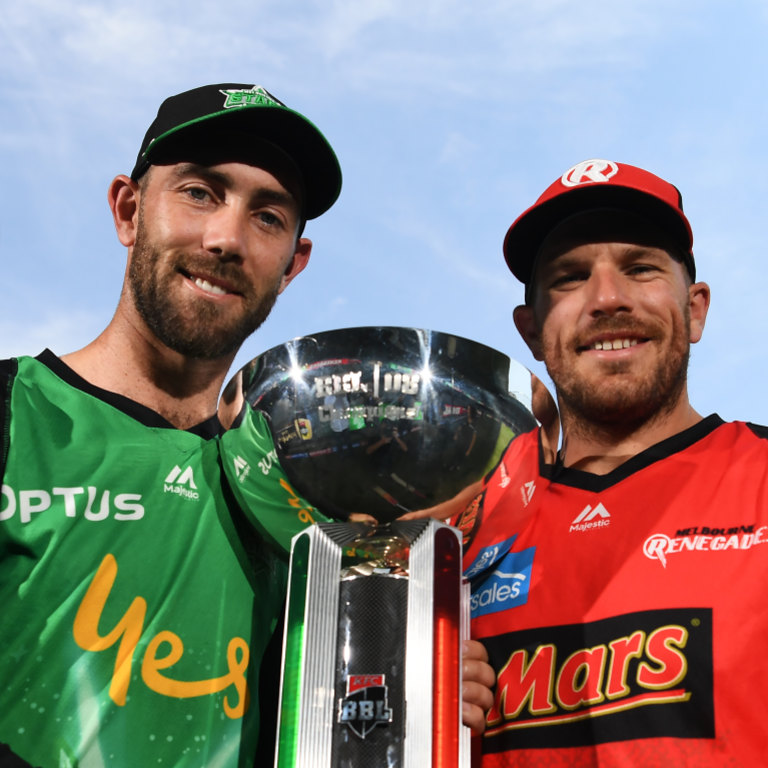 Glenn Maxwell and Aaron Finch pose with the trophy.