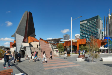 Yagan Square connects the CBD with Northbridge but 14 food outlets inside its 'Market Hall' are struggling to be seen.