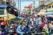 Phnom Penh, Cambodia- September 4, 2018: Very busy and crowded local market