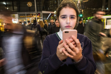 Ursula, 16,  was on a school excursion at Melbourne Museum when she was airdropped an explicit image. Picture: Jason South.