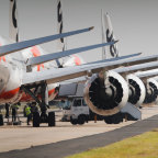 Jetstar planes being parked for storage at Avalon Airport, near Geelong , on Friday.