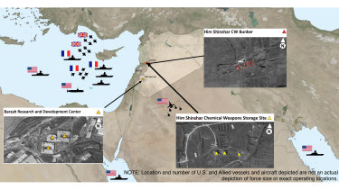 This image provided by the US Department of Defence was presented at the Pentagon briefing on Saturday, April 14, 2018, and shows areas targeted in Syria by the U.S.-led coalition in response to Syria's use of chemical weapons on April 7.