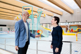 Project designer Andrew Burges and Sydney lord mayor Clover Moore beside the water-play area.
