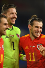 Gareth Bale with teammates.