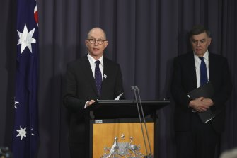 Chief Medical Officer Professor Paul Kelly and Secretary of the Department of Health Professor Brendan Murphy during the press conference on Thursday.