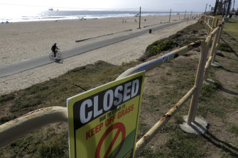 A section of Huntington Beach, California is closed to foot traffic.