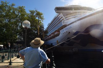 The Ruby Princess, docked in Sydney on March 19.