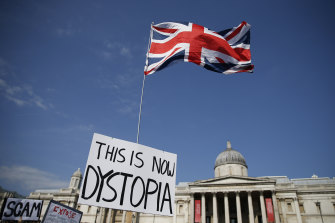 Protestors attended an anti-vaxxer rally in Trafalgar Square in London on the weekend.