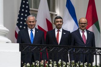 Israeli Prime Minister Benjamin Netanyahu, left, United Arab Emirates Foreign Minister Abdullah bin Zayed al-Nahyan, and Bahrain Foreign Minister Khalid bin Ahmed Al Khalifa.