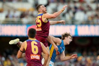 Daniel McStay flies high in Brisbane's win.