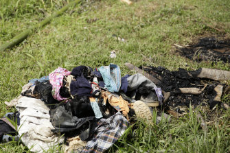 The burnt clothes of the cult's victims.