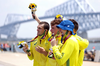 Hour of power: Men's four gold medallists Alex Purnell, Jack Hargreaves, Alex Hill and Spencer Turrin.