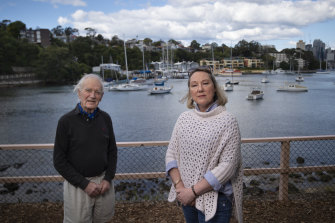 "Michael Stevens and Karen Foster of the ""Say no to Noakes"" action group at Berrys Bay."