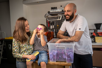 Piers Mossuto (right) lost his job in education management in September and joined his wife Kayla in their reusable coffee pod business, Crema Joe. This has meant better work-family balance for the couple, who are parents to Ned, 4.